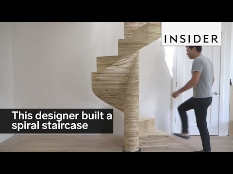 Designer Built An Awesome Spiral Staircase Out Of Plywood